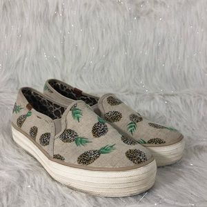 Keds triple decker pineapple print slip on shoes